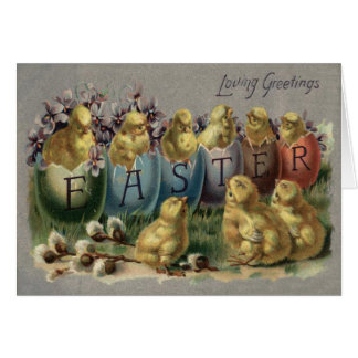 Easter Bunny Basket Colored Egg Sun Flower Field Card