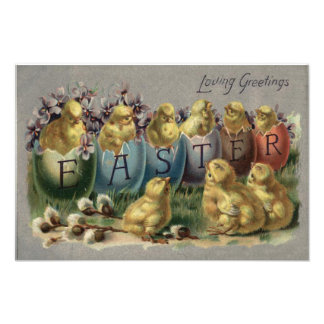 Easter Bunny Basket Colored Egg Sun Flower Field Photographic Print
