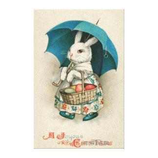 Easter Bunny Basket Colored Egg Umbrella Canvas Print