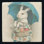 "Easter Bunny Basket Colored Egg Umbrella Stone Coaster<br><div class=""desc"">Vintage Easter print</div>"