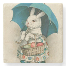 Easter Bunny Basket Colored Egg Umbrella Stone Coaster