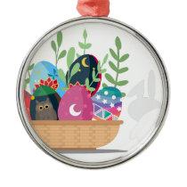 easter bunny basket metal ornament