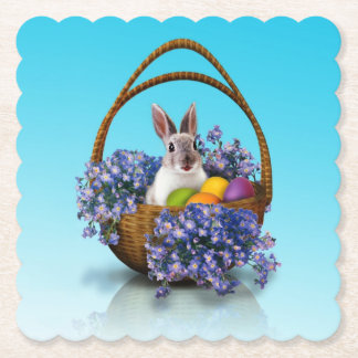Easter Bunny Basket Scalloped Square Paper Coaster