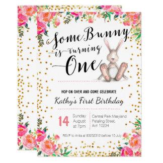 Easter Bunny Birthday Floral Invitation