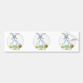 Easter Bunny Blue Rabbit Cartoon Bumper Sticker