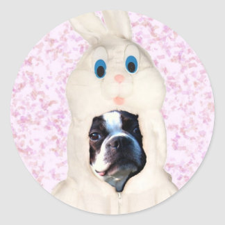 Easter bunny boston terrier large stickers