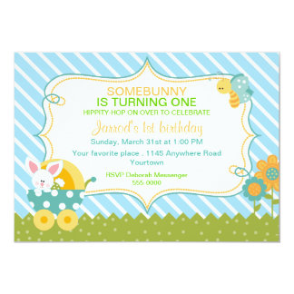 Easter Bunny Boys Birthday Invitation