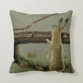 Easter Bunny Bridge Forest Throw Pillow