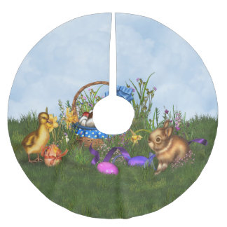 Easter Bunny Brushed Polyester Tree Skirt