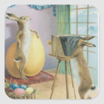 Easter Bunny Camera Photography Easter Colored Egg Square Sticker