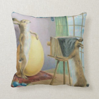 Easter Bunny Camera Photography Easter Colored Egg Throw Pillow