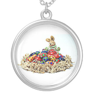 Easter Bunny Candy Nest Silver Plated Necklace
