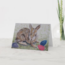 Easter Bunny Card - Wish someone special a very Happy Easter with this bunny and easter egg card. Original artwork done in ink and watercolor. Wishing You a Very Happy Easter!