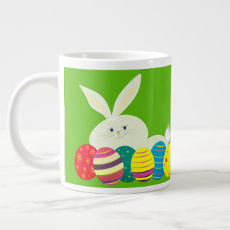 Easter Bunny Cartoon Cute Eggs Colorful Ornate Giant Coffee Mug