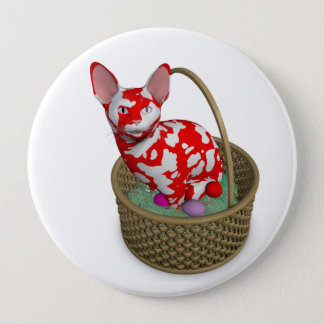 Easter Bunny Cat Pinback Button