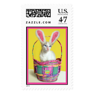 Easter Bunny Cat Stamp