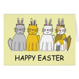 Easter Bunny Cats Card