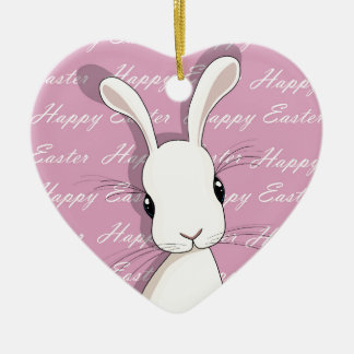 Easter bunny ceramic ornament