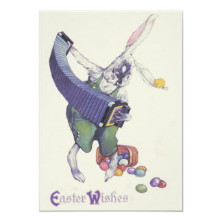 Easter Bunny Chick Basket Colored Eggs Card
