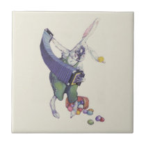 Easter Bunny Chick Basket Colored Eggs Ceramic Tile