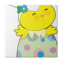 Easter Bunny Chick Ceramic Tile