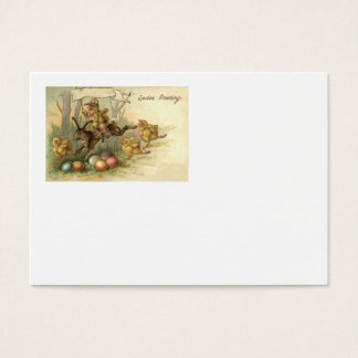Easter Bunny Chick Colored Painted Egg Flag Business Card