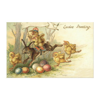 Easter Bunny Chick Colored Painted Egg Flag Canvas Print