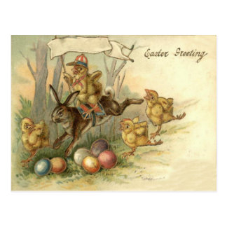 Easter Bunny Chick Colored Painted Egg Flag Postcard