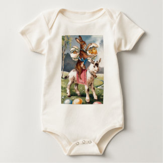 Easter Bunny Chick Colored Painted Egg Goat Baby Bodysuit