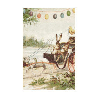 Easter Bunny Chick Egg Lamb Carriage Canvas Print