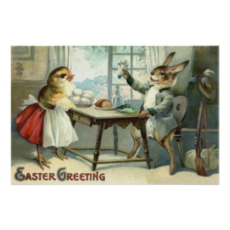 Easter Bunny Chick Egg Meal Hunter Poster