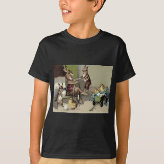 Easter Bunny Chick Egg Wagon Forget Me Not T-Shirt