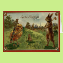 Easter Bunny Chick Golf Caddy Colored Egg Card