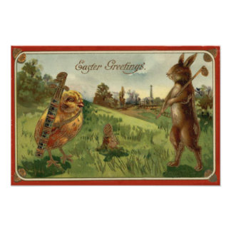 Easter Bunny Chick Golf Caddy Colored Egg Photo Print