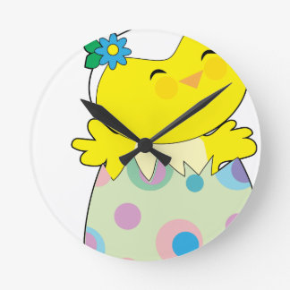 Easter Bunny Chick Round Clock
