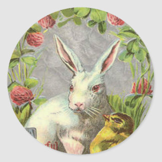 Easter Bunny Chick Shamrock Classic Round Sticker