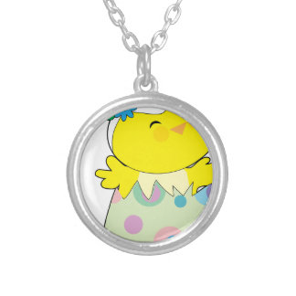 Easter Bunny Chick Silver Plated Necklace
