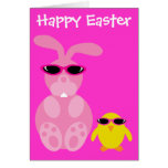 Easter Bunny & Chick With Sunglasses Card