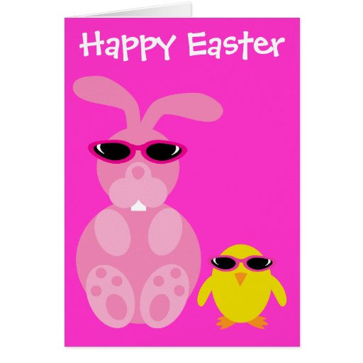 Easter Bunny & Chick With Sunglasses Greeting Card