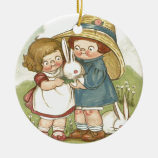 Easter Bunny Children Flower Double-Sided Ceramic Round Christmas Ornament