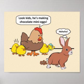 Easter Bunny Chocolate Eggs Humor Poster