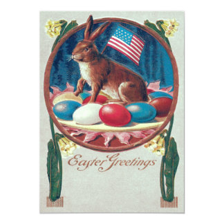 Easter Bunny Colored Egg American Flag Card
