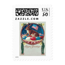 Easter Bunny Colored Egg American Flag Postage