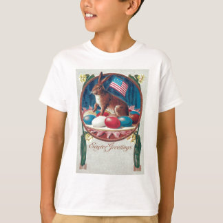 Easter Bunny Colored Egg American Flag T-Shirt