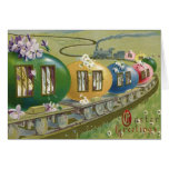Easter Bunny Colored Egg Cage Train Card