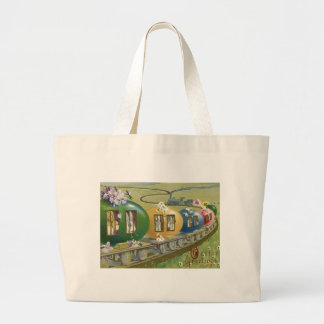 Easter Bunny Colored Egg Cage Train Large Tote Bag