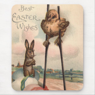 Easter Bunny Colored Egg Chick Stilts Mouse Pad