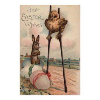 Easter Bunny Colored Egg Chick Stilts Poster