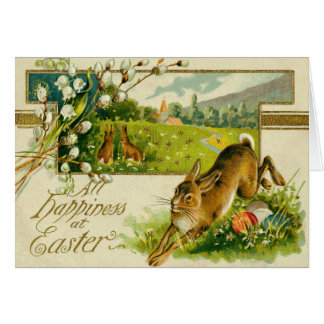 Easter Bunny Colored Egg Church Card