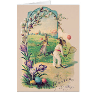 Easter Bunny Colored Egg Tennis Cotton Card